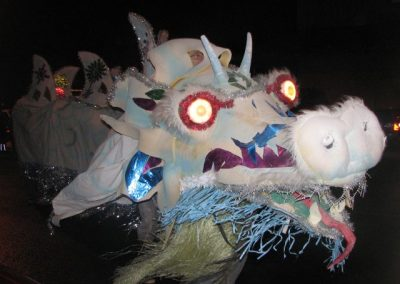 The snow dragon comes out at Christmastime.